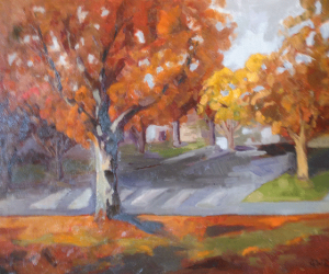 "Maple Street Crosswalk, oil, 16"" x 20"""