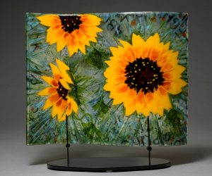 "Sunflower Panel, 12"" x 16"", fused glass"