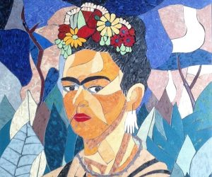 "Frida with Flowers, 12""x 16"", mosaic"