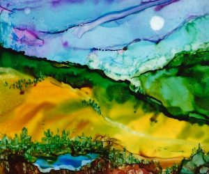 Valley Springs, 5 x 7, alcohol ink on Yupo