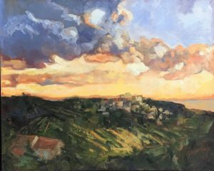 "Sunset in Bonnieux, 36""x 24"""